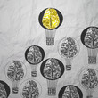 hand drawn air balloons with 3d metal brain on crumpled paper as