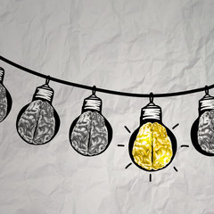hand drawn light bulb on wire doodle with 3d metal brain as lead