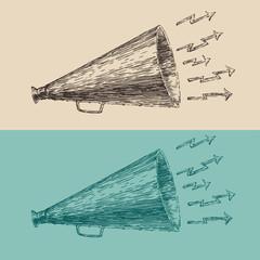 loudspeaker engraving style, hand drawn