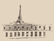 Eiffel Tower in Paris, city architecture, engraved illustration