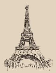 Eiffel Tower in Paris architecture, engraved illustration