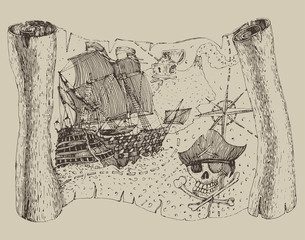 Island Treasure Map, engraved illustration, hand drawn
