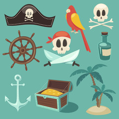 cute pirate  set, objects collection, vector illustration