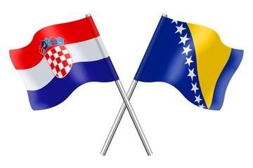 Flags : Croatia and Bosnia-Herzegovina
