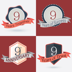 Set of Retro vector Stamps/Seal for 9th business anniversary .