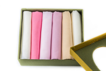 Box of multi-colored handkerchief