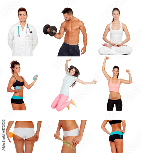 Photo collage of healthy people practicing fitness