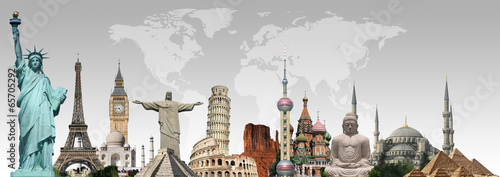 Travel the world monuments concept - 65705292