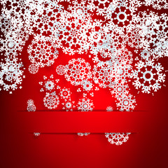Red background with paper snowflakes.