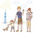 夏の家族とスカイツリー