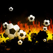 Vector Illustration of a Soccer Background with Fire