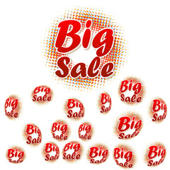 Big sale text on halftone pattern.