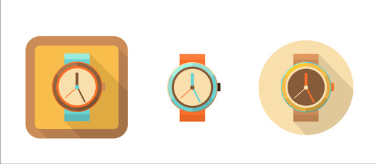 watch, simple retro icon in flat style