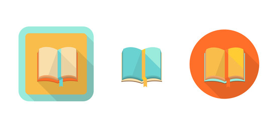 book, simple retro icon in flat style