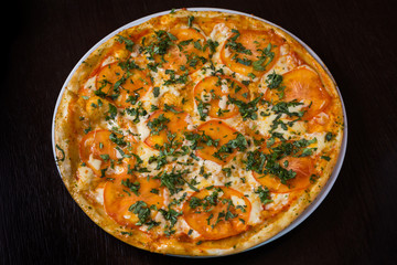 Appetizing pizza with tomatoes