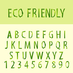 eco friendly (type) font by triangles, polygon vector