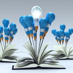 open book with 3d metal human brain inside pencil light bulb as