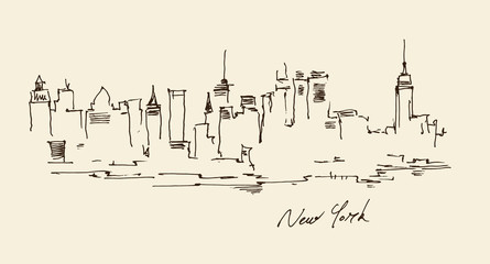 New York city architecture, vintage engraved illustration