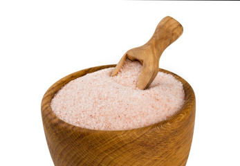 fine himalayan salt in a wooden bowl
