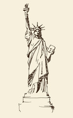 Statue of Liberty hand drawn vintage engraved illustration