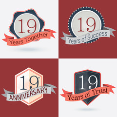 Set of Retro vector Stamps/Seal for 19th business anniversary .