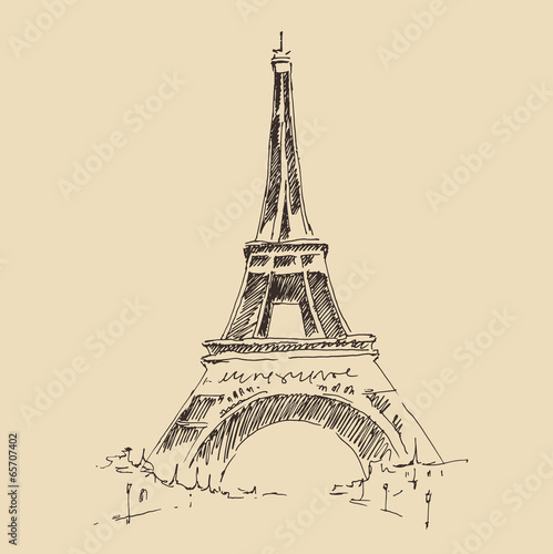 eiffelturm-paris-architektur-gravierte-darstellung