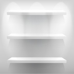 Empty white shelf for exhibit with light. + EPS10