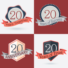 Set of Retro vector Stamps/Seal for 20th business anniversary .