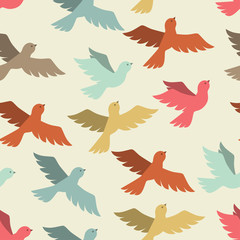 Seamless pattern with stylized color flying birds.