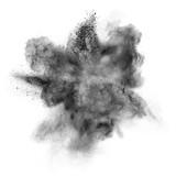 Black powder explosion isolated on white