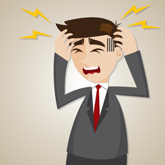 cartoon businessman headache