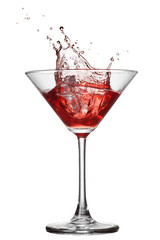 Red cocktail with splash isolated