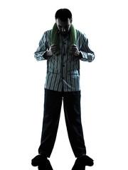 man  pajamas sleepy  tired silhouettes