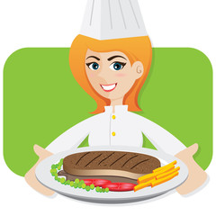 cartoon girl chef serving steak
