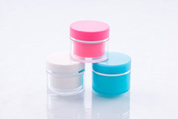 Products containing mint creams and medicines colorful compact.