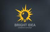 Creative bright new idea vector logo design. Light bulb - 65708236