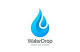 Waterdrop vector logo design. Clear Water dropplet - 65708257