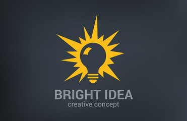 Creative bright new idea vector logo design. Light bulb