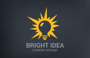 Creative bright new idea vector logo design. Light bulb