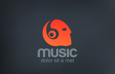 Head with Headphones listening Music vector logo design