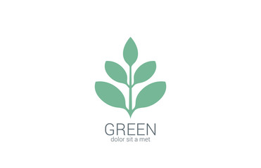 Green Plant abstract vector logo design. Eco organic