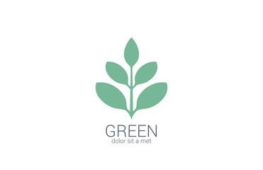 Green Plant abstract vector logo design. Eco organic