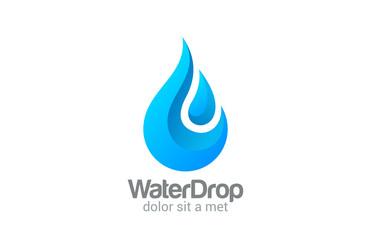 Waterdrop vector logo design. Clear Water dropplet