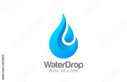 Waterdrop vector logo design. Clear Water dropplet - 65708257