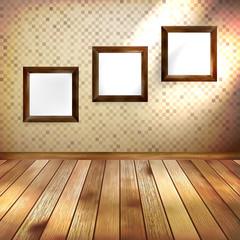 Retro room with three frames. EPS 10