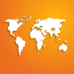 background with world map on orange - vector illustration