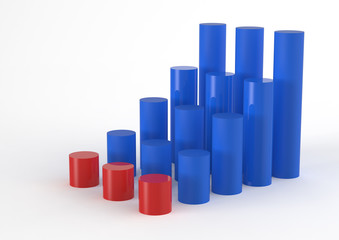 3D Bar Chart and chart growth as concept
