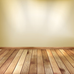 Beige wall with spot lights wooden floor. EPS 10