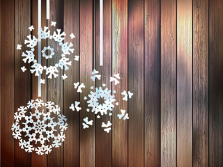 Snowflakes hanging over wooden. EPS 10
