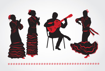 Flamenco dancers and a guitarist. Set of silhouettes on a white